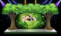 唯美自然绿色大树婚礼舞台婚庆背景迎宾区设计