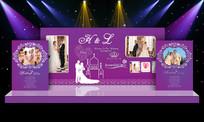 紫色唯美婚礼舞台布置背景