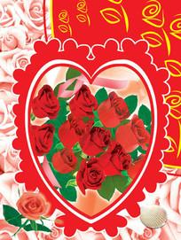 爱心红玫瑰卡片psd
