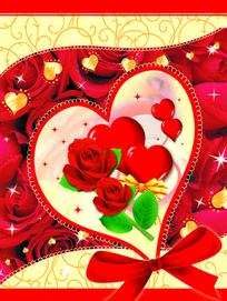 爱心红玫瑰情人节模版psd