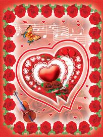爱心玫瑰花朵卡片psd