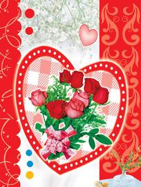 爱心玫瑰花朵情人卡psd