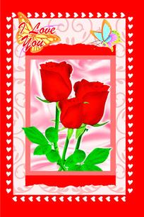 爱心玫瑰花卡片psd