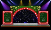 大气绚丽森林系婚礼婚庆迎宾区舞台背景印刷设计 PSD