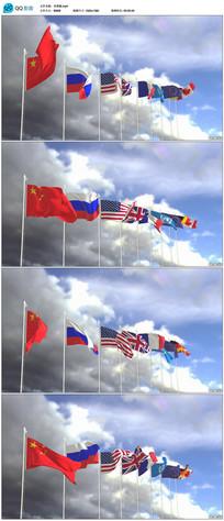 多国随风飘扬的国旗视频素材