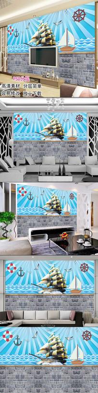 个性3D立体儿童房背景墙图片