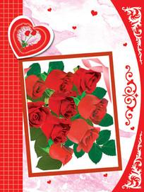 红玫瑰花束卡片psd