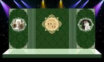怀旧复古绿色经典婚礼婚庆舞台造型 PSD