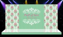 简洁唯美绿色主题婚礼婚庆迎宾区舞台背景 PSD