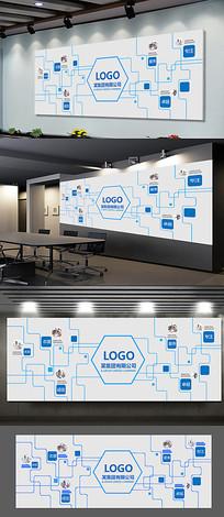 简约线条企业形象墙展板