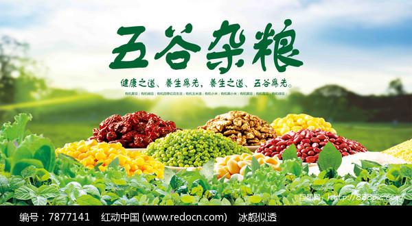 绿色有机五谷杂粮海报图片