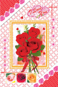 玫瑰花束卡片psd