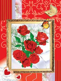 玫瑰花相框psd分层