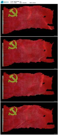 破损的党旗视频素材
