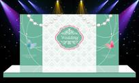 唯美大气主题婚礼婚庆迎宾区舞台背景 PSD