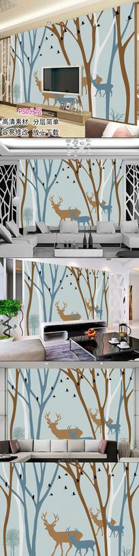 现代简约手绘电视背景墙图片