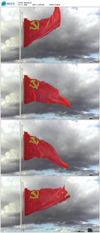 战争中破损的党旗