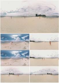 2k超清沙滩美女玩耍360vr视频素材