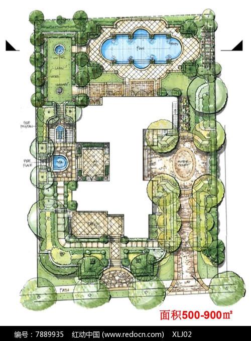 方形庭院景观手绘