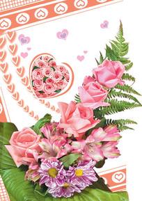 粉红玫瑰花束卡片psd