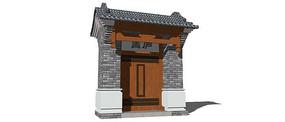 古典风格中式大门模型