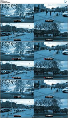 街道停车场监控器实拍视频素材