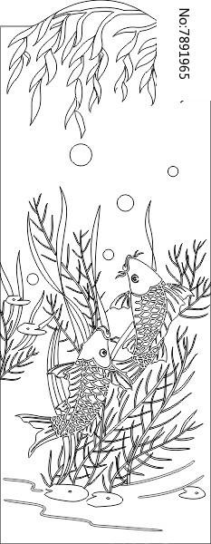 原创设计稿 装饰画/电视背景墙 雕刻图案 柳叶鱼雕刻图案  请您分享图片