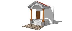 欧式门建筑入口模型