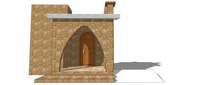 石砌建筑大门模型