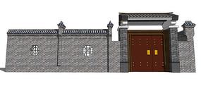 中式景观入口大门模型