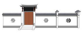 中式景观庭院门模型