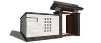 中式景观院落大门模型