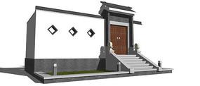 中式院门模型