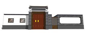 中式住宅大门模型