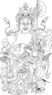财神爷雕刻图案