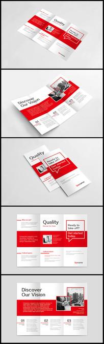 红色商务企业三折页模板
