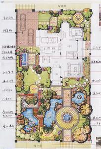 花园别墅手绘景观