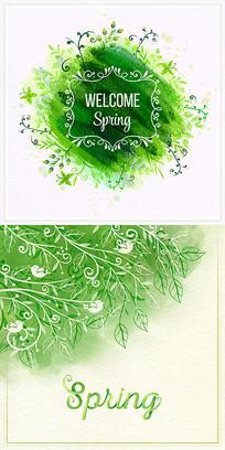 水彩装饰分支叶子素材