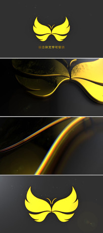 3d金黄色logo标志展示ae模板