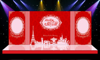 大气红色婚礼婚庆舞台造型设计 PSD