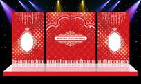大气红色主题婚礼婚庆迎宾区背景设计 PSD
