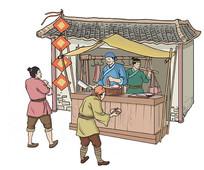 古代肉铺插画