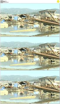 海啸过后的日本废墟实拍视频素材