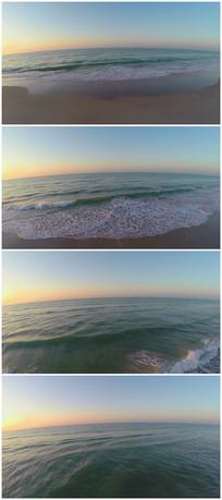 航拍海边沙滩浪花实拍素材