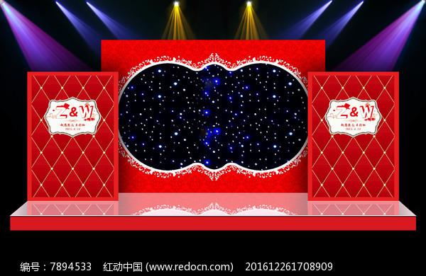 红色大气婚礼婚庆舞台迎宾区背景图片
