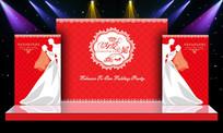 红色浪漫温馨主题婚礼婚庆舞台迎宾区背景 PSD