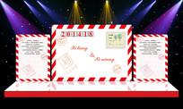 红色信封主题婚礼婚庆舞台迎宾区背景