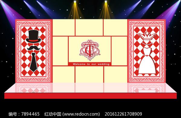 红色主题奢华婚礼婚庆舞台迎宾区背景图片