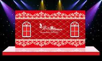 浪漫婚礼婚庆迎宾区舞台背景设计 PSD