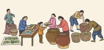晾晒野菜腌酸菜腌酱菜插画